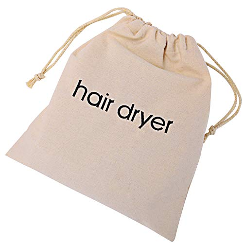 Senkary Hair Dryer Bags Drawstring Hairdryer Travel Bag Cotton Hair Dryer Storage Bag, 11.8 Inch by 13.8 Inch, Beige Review