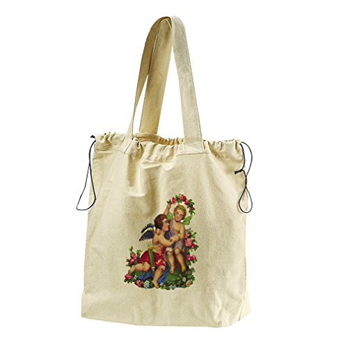 Couple Of Angels Valentines Day #1 Canvas Drawstring Beach Tote Bag by Style in Print