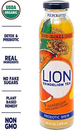 LION Dandelion Prebiotic Tea (Blood Orange Ginger) Improves Digestion, Reduce Bloating and Boost Immune System Delicious and Refreshing Bottled Tea Using Dandelion Leaf and Root – 12 bottles