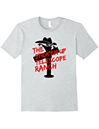 The Stick'em Up Telescope Ranch on Iight T-shirt - FRONT