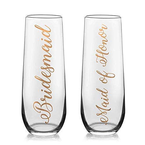 Bridal Party Toasting Flutes - Bridesmaid Champagne flutes - Bridesmaid Proposal Gift - Will you be my Bridesmaid]()