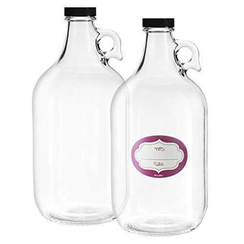 2 Pack - Half Gallon Glass Jugs - Multi Purpose - Heavy Duty - 64 Oz Clear Glass Water Bottles with Airtight Lids and Labels - Great for Kombucha, Cold Brew Coffee, Tea and More - Food Grade BPA Free (Distilled Water Glass)