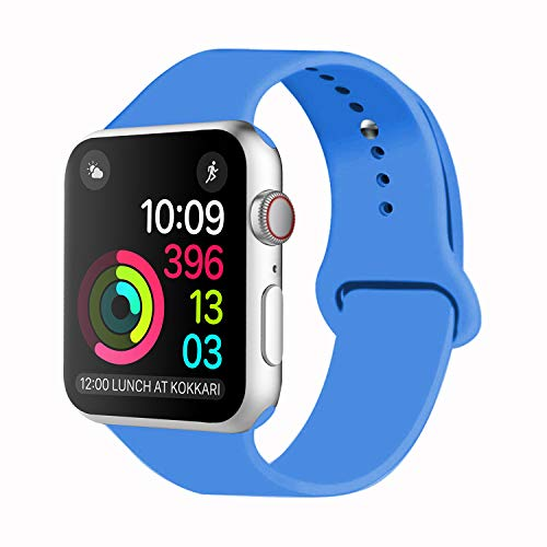 Idon Sport Watch Band, Soft Silicone Replacement Sports Band Compatible with Smart Watch Band 2018 Series 4/3/2/1 38MM 40MM 42MM 44MM for Smart Watch All Models(Royal Blue,42MM S/M) (Watches Ebay)