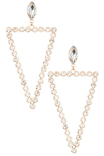 Trifari Triangle Earrings (Karmas Canvas TRIANGLE RHINESTONE PAVE DANGLE EARRING (Gold/Clear))