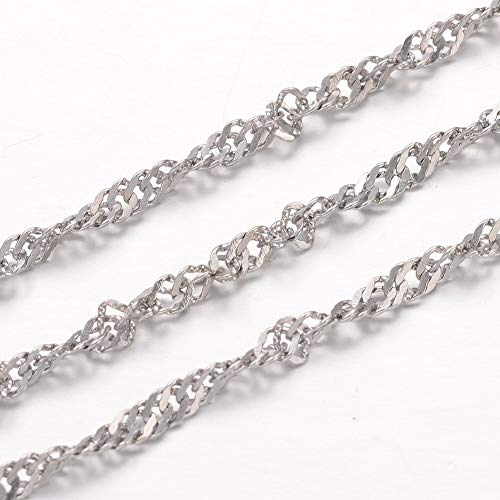 DanLingJewelry 304 Stainless Steel 20M Singapore Chain Necklace for Jewelry Making(Stainless Steel Color-2.2x0.4mm) ()