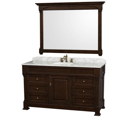 Wyndham Collection Andover 60 inch Single Bathroom Vanity in Dark Cherry with White Carrera Marble Top with White Undermount Round Sink and 56 inch Mirror - Gallery Cherry Solid Wood