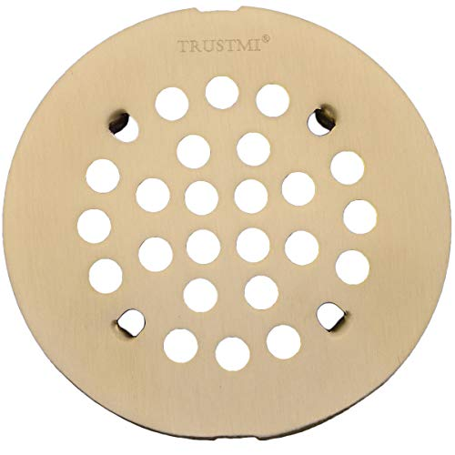 TRUTMI 4-1/4 Inch Snap-in Shower Floor Drain Replacement Cover, Brushed Gold ()