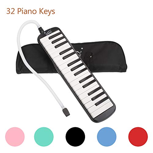 (Glarry 32 key Melodica Musical Instrument Piano Style Gift for Music Lovers Beginner with Two mouthpieces and Carrying Bag (Black) )