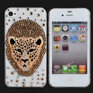 Cool 3D Leopard Head Style Plastic Protective Back Case for iPhone 4/4S Transparent & Golden