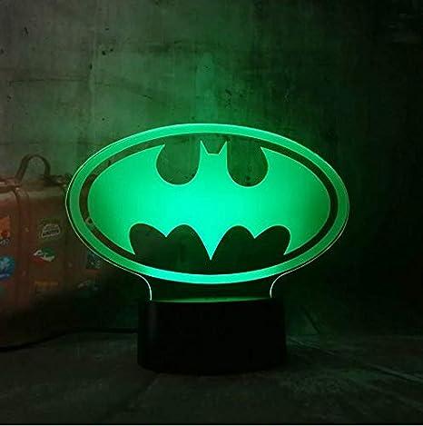 Dc 3d Led Escritorio Batman Lámpara Noche De Símbolo Luz Mesa odBCeQrWx