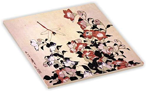 Sam Sandor 4 Inch Ceramic Tile Art - Katsushika Hokusai Art Chinese Bell Flower Dragon-Fly ()
