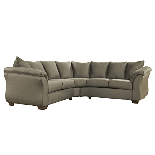 Flash Furniture Signature Design by Ashley Darcy Sectional in Sage - Set Sectional Sofa Plush