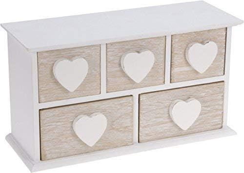 Pequeño joyero de madera con 5 cajones – Madera Corazón Blanco ...
