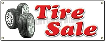 Tires Sale Yellow//Black//Red//White Windless Banner Advertising Marketing Flag