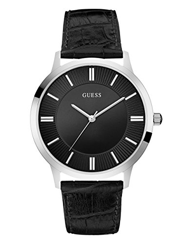 GUESS-Mens-U0664G1-Dressy-Silver-Tone-Watch-with-Plain-Black-Dial-and-Genuine-Leather-Strap-Buckle