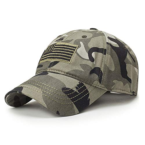 Encorashop USA US American Flag Tactical Operator Camouflage Adjustable Baseball Caps for Men and Women-Camo