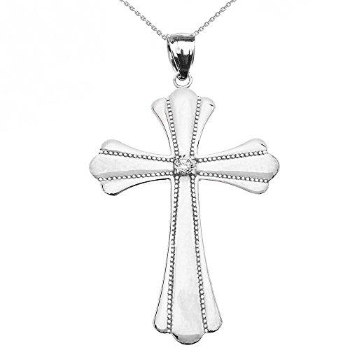 Collier Femme Pendentif 14 Ct Or Blanc Solitaire Diamant Poli Élevé Milgrain Croix (Large) (Livré avec une 45cm Chaîne)
