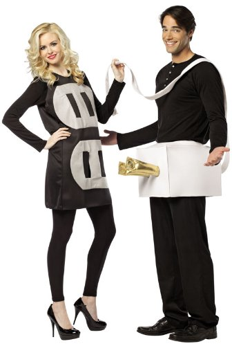 80s Halloween Costumes Guys (Rasta Imposta Lightweight Plug and Socket Couples Costume, Black/White, One)