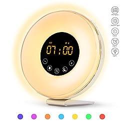 Sunrise Alarm Clock, Wake Up Light with Sunrise Sunset Simulation, 6 Nature Sounds, FM Clock Radio, 10 Brightness Levels, Snooze Function and 7 Colors Night Light