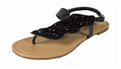 BowerUT! By Soda Side Bead Decoration Flat Thong Sandal with Adjustable Ankle Strap, black leatherette, 5.5 M