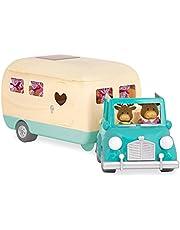 Li'l Woodzeez 6486Z Blue Li'l Woodzeez – Happy Camper – 40 stuks speelgoedset auto, caravan, meubels en accessoires – miniatuurvoertuigen en speelsets voor kinderen vanaf 3 jaar
