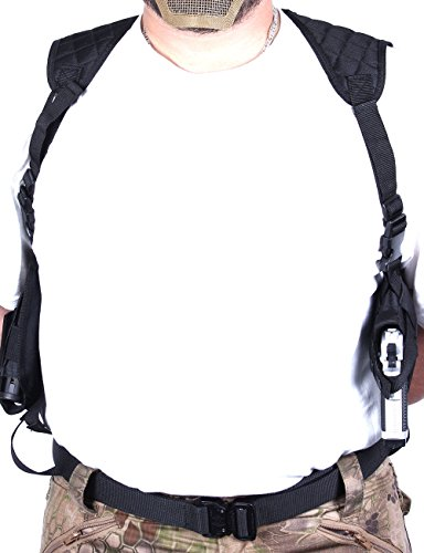 Vivoi Right or Left Handed Adjustable Ambidextrous Horizontal AirSoft Shoulder Holster with Double Magazine Pouch (Black)