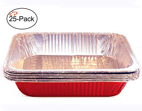 Tiger Chef Full Size Red Disposable Aluminum Foil Steam Table Baking Pans, 19 5/8in x 11 5/8in x 2 3/16 inches Deep Disposable Chafing Pans 25-Pack