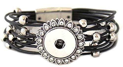 (Rockin Angels Black Silver Bead PU Leather 18-20mm Snap Charm Bracelet for Ginger)