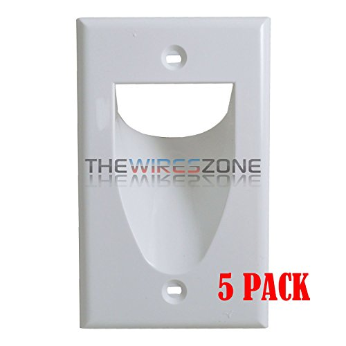 White 1-Gang Recessed Low Voltage Audio Video Cable Pass Through Wall Plate 5/pk