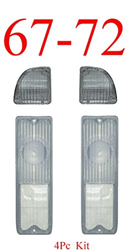 67-72 Chevy 4Pc Clear Tail Light & Reverse (68 Tail Light Panel)