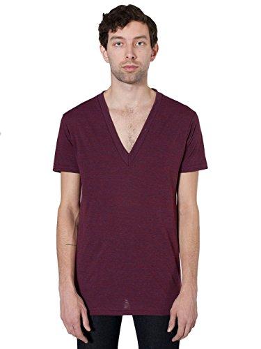 American Apparel  Unisex Tri-Blend Short Sleeve Deep V-Neck, Tri/Cranberry, - Tall V Clothing Big Neck And Mens