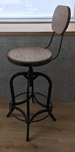 Admirable Bar Stool With Back Rest Urban Vintage Retro Adjustable 68 83Cm Industrial Real Wood Seat Caraccident5 Cool Chair Designs And Ideas Caraccident5Info