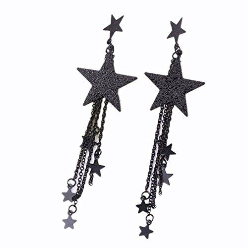 Polytree Womens Star Long Tassel Earring Dangle Eardrop Ear Stud Gift (Black)