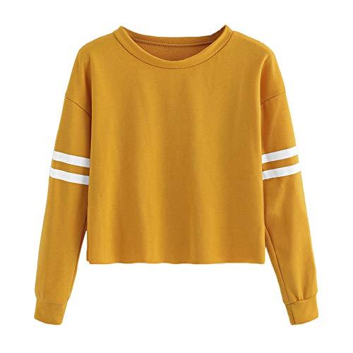 Sleeve Round Yellow Long Morwind Sweatshirt Neck Womens Blouse Printing Stripe Tops Xqg6ERwB