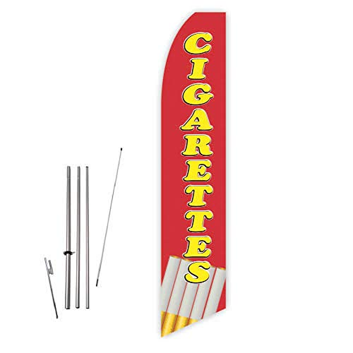 Cigarettes (Red) Super Novo Feather Flag - Complete with 15ft Pole Set and Ground ()
