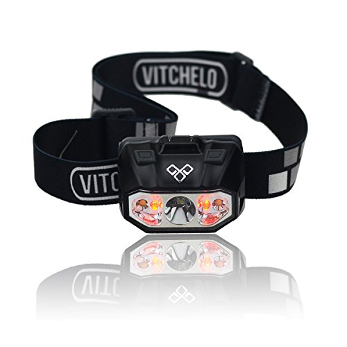 VITCHELO Waterproof Outdoor Red Led Headlamp Flashlight – Lightweight Dimmable & Comfortable Headlight Head Lamp Best for Running Camping Hiking Backpacking Fishing Boating Reading Knitting