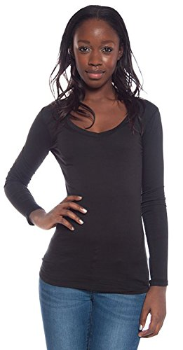 Active Basic Women's Basic Long Sleeve V-Neck Tee Small Black