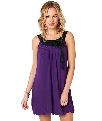 KRISP Damen Tunikakleid Minikleid Longtop Kleid mit Blumenanstecker Violett (3565) y5qqtW