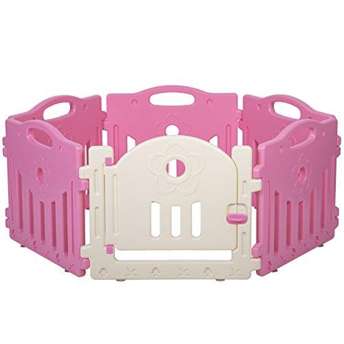 Baby Playpen 6 Panel Playard Kids PlaySafe Activity Center W/ Locked Door from BestMassage