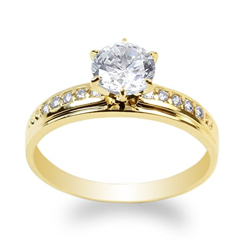 JamesJenny 10K Yellow Gold 1.0ct Clear CZ Fancy Engagement Solitaire Ring Size 7.5 ()