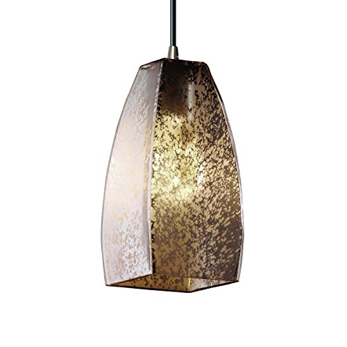 Justice Design Group Fusion 1-Light Pendant - Brushed Nickel Finish with Mercury Glass Artisan Glass (Justice Design Nickel Pendant)