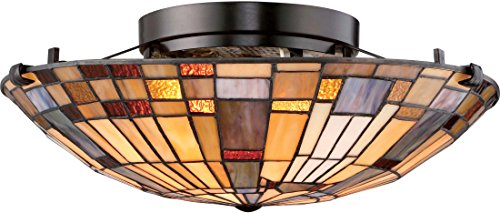 (Quoizel TFIK1617VA Inglenook Flush Mount Ceiling Lighting, 2-Light, 150 Watts, Valiant Bronze (6