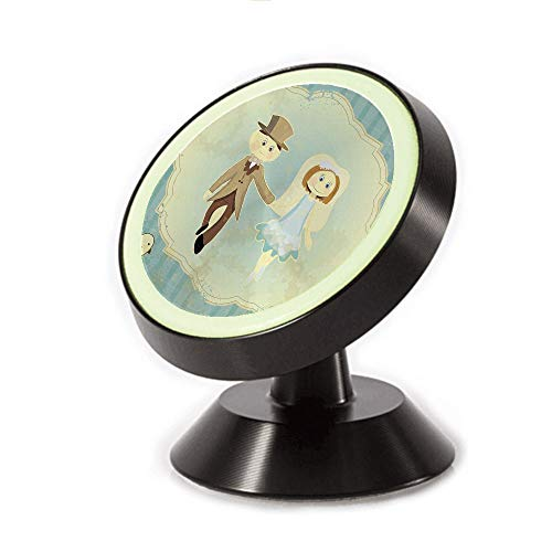 Magnetic Dashboard Cell Phone Car Mount Holder,Retro Design Bride Groom Pigeons Ribbon Grunge,Slate,can be Adjusted 360 Degrees to Rotate,Phone Holder Compatible All Smartphones
