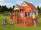 Kids Playhouse, Wooden - with 1 Mini Adirondack Chair, Cedar Mansion, Brown