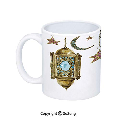 Lantern Coffee Mug,Traditional Hand Drawn Style Watercolor Crescent Moon and Stars Cultural,Printed Ceramic Coffee Cup Water Tea Drinks Cup,Marigold Pink Blue