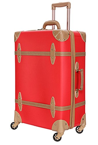 28' Wheeled Suitcase (Women Environmental PP and PU Leather Spinner TSA Lock Retro Suitcase Red Luggage - 28 Inch Red)