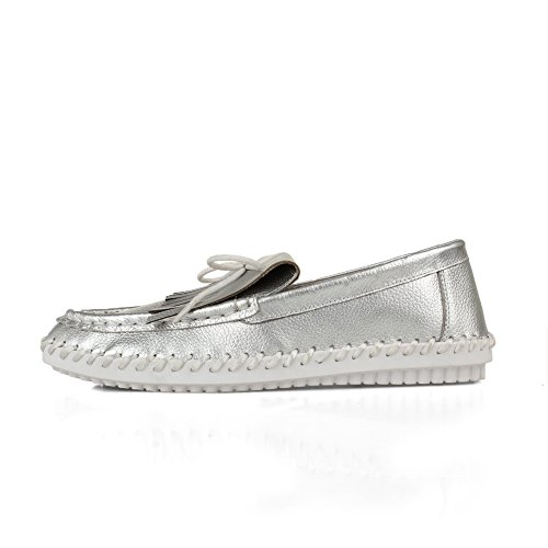 SDC04228 Travel Silver Toe Womens Casual Round AdeeSu Loafers Pleather Shoes Oq6w8ax