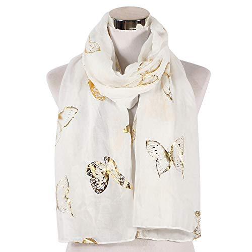White Foil Gold Butterfly Muslim Hijab Scarf Shawl Wrap Scarves Women Ladies,White Long