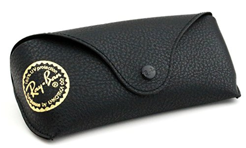 Ray Ban Black Leather Like Medium Case With Gold Stamp, Authenticity Booklet, Microfiber Cloth