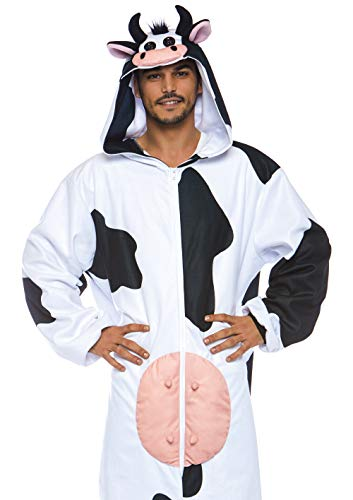 Leg Avenue Mens Moooo Cow Costume Onesie, White/Black One Size